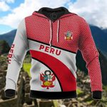 Peru Coat Of Arms Hexagon Pattern All Over Print Hoodies