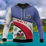 Haiti Coat Of Arms Hexagon Pattern All Over Print Hoodies