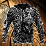 Mexico Aztec Calendar Black All Over Print Shirts