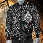 Mexico Aztec Calendar Black All Over Print Bomber Jacket