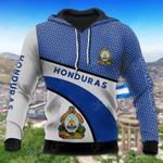Honduras Coat Of Arms Hexagon Pattern All Over Print Hoodies