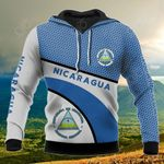Nicaragua Coat Of Arms Hexagon Pattern All Over Print Hoodies