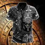 Mexico Aztec Calendar Black All Over Print Polo Shirt