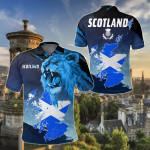Lion and Map Scotland All Over Print Polo Shirt