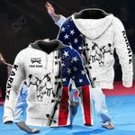 Customize Karate US Flag All Over Print Hoodies