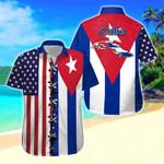 Cuba Map & Flag Short Sleeve Linen Button Down Shirt