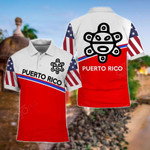 Puerto Rico - US Flag Taino Sun All Over Print Polo Shirt