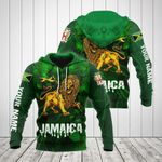 Customize Jamaica Lion 3D Green All Over Print Hoodies