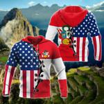 Peru - US Flags All Over Print Hoodies