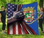 Puerto Rico Coat Of Arms - US Flag Premium Quilt
