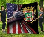 Puerto Rico Coat Of Arms - US Flag Black Premium Quilt