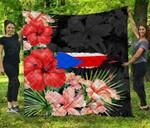 Puerto Rico Map Hibiscus Premium Quilt