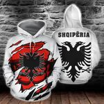Albania Coat Of Arms 3D - White All Over Print Hoodies