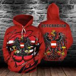 Austria Coat Of Arms 3D - Red All Over Print Hoodies