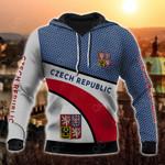 Czech Republic Coat Of Arms Hexagon Pattern All Over Print Hoodies