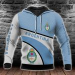 Argentina Coat Of Arms Hexagon Pattern All Over Print Hoodies