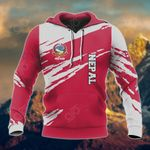 Customize Nepal Flag And Coat Of Arms Paint Style All Over Print Hoodies