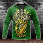 Irish Cross Shamrock Patrick's Day 3D All Over Print Shirts