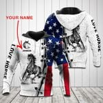 Customize Love Horse US Flag All Over Print Hoodies