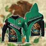 Customize Mexico Coat Of Arms Aztec - Green All Over Print Hoodies