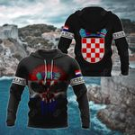 Customize Croatia Coat Of Arms Flag Skull - Black All Over Print Hoodies