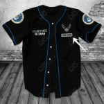 Customize U.S.Air Force Veteran Black All Over Print Baseball Jersey Shirt