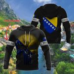 Customize Bosnia Coat Of Arms Skull Flag - Black All Over Print Hoodies