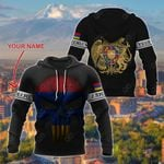 Customize Armenia Coat Of Arms Skull Flag - Black All Over Print Hoodies