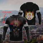 Customize Serbia Coat Of Arms Skull Flag - Black All Over Print Hoodies