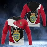 Customize Denmark Coat Of Arms - Flag Color Version All Over Print Hoodies
