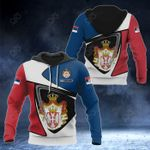 Customize Serbia Coat Of Arms - Flag Color Version All Over Print Hoodies