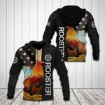 Rooster US Flag Black All Over Print Hoodies