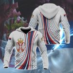 Serbia Coat Of Arms Circle Pattern All Over Print Hoodies