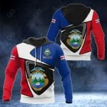 Customize Costa Rica Coat Of Arms - Flag Color Version All Over Print Hoodies