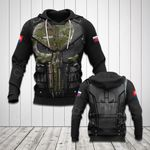 Customize Slovakia Coat Of Arms 3D Armor - Black All Over Print Hoodies