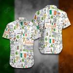 Ireland Doodle Short Sleeve Linen Button Down Shirt