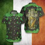 Irish Celtic Shamrock Short Sleeve Linen Button Down Shirt
