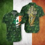 Irish Shamrock Short Sleeve Linen Button Down Shirt