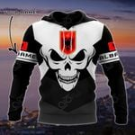 Customize Albania Coat Of Arms Skull - Black And White All Over Print Hoodies
