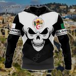 Customize Algeria Coat Of Arms Skull - Black And White All Over Print Hoodies