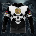 Customize Armenia Coat Of Arms Skull - Black And White All Over Print Hoodies