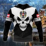 Customize Austria Coat Of Arms Skull - Black And White All Over Print Hoodies