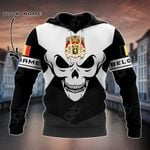 Customize Belgium Coat Of Arms Skull - Black And White All Over Print Hoodies