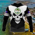 Customize Belize Coat Of Arms Skull - Black And White All Over Print Hoodies