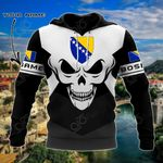 Customize Bosnia Coat Of Arms Skull - Black And White All Over Print Hoodies