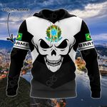 Customize Brasil Coat Of Arms Skull - Black And White All Over Print Hoodies