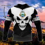 Customize Costa Rica Coat Of Arms Skull - Black And White All Over Print Hoodies