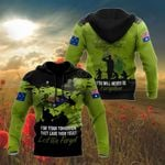 Lest We Forget Anzac Day Green All Over Print Shirts