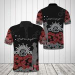 Lest We Forget Black All Over Print Polo Shirt