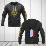 France Coat Of Arms Gold All Over Print Hoodies